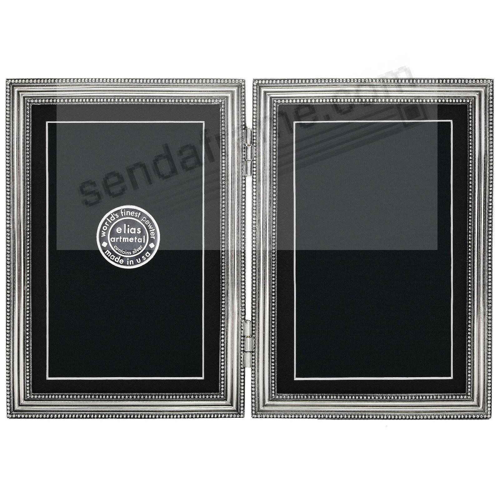 CLASSICO Fine Silvered Pewter Hinged 5x7/4x6 Double by Elias Artmetal®