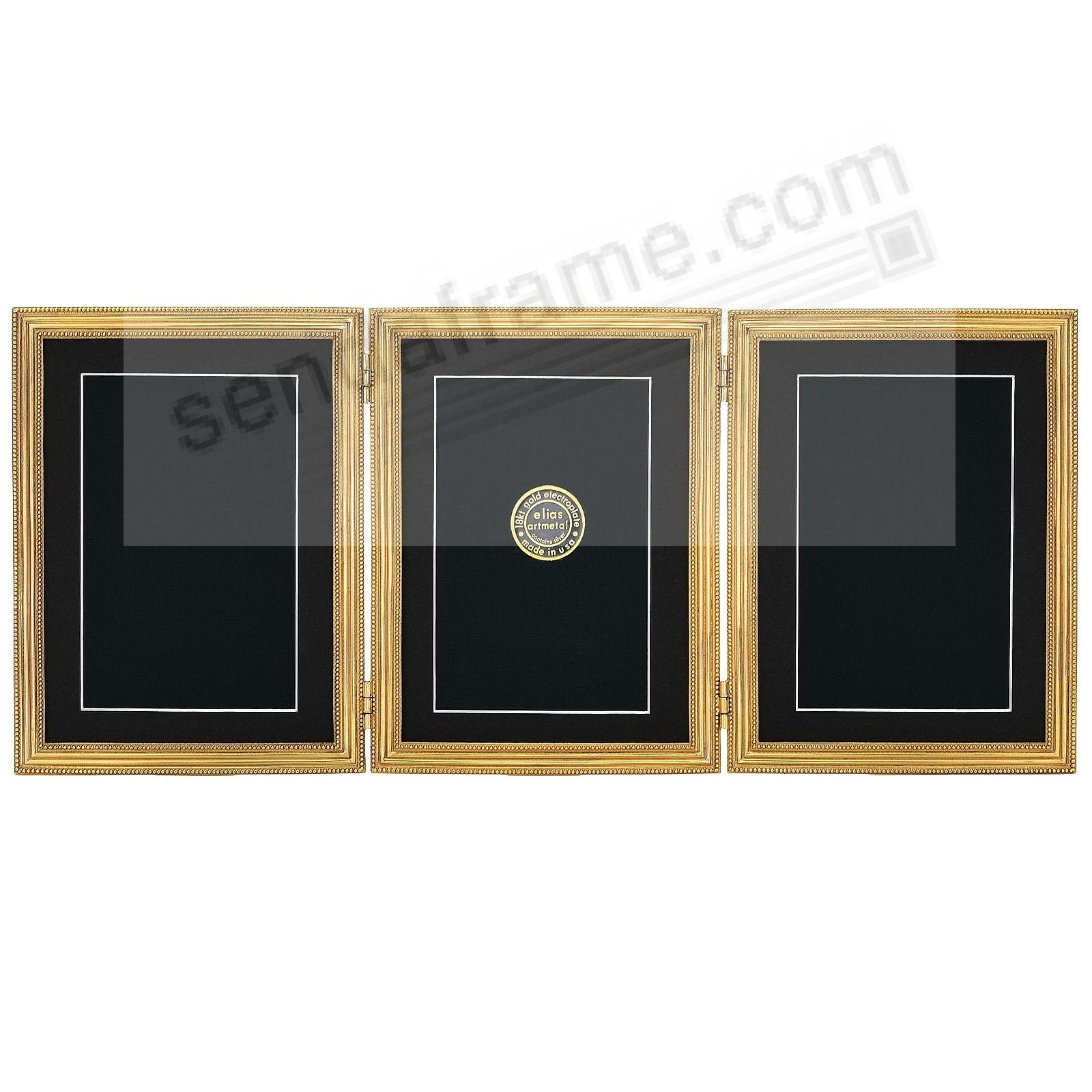 CLASSICO TRIPLE Hinged 2½x3½ frame in fine 18kt gold vermeil by Elias Artmetal®