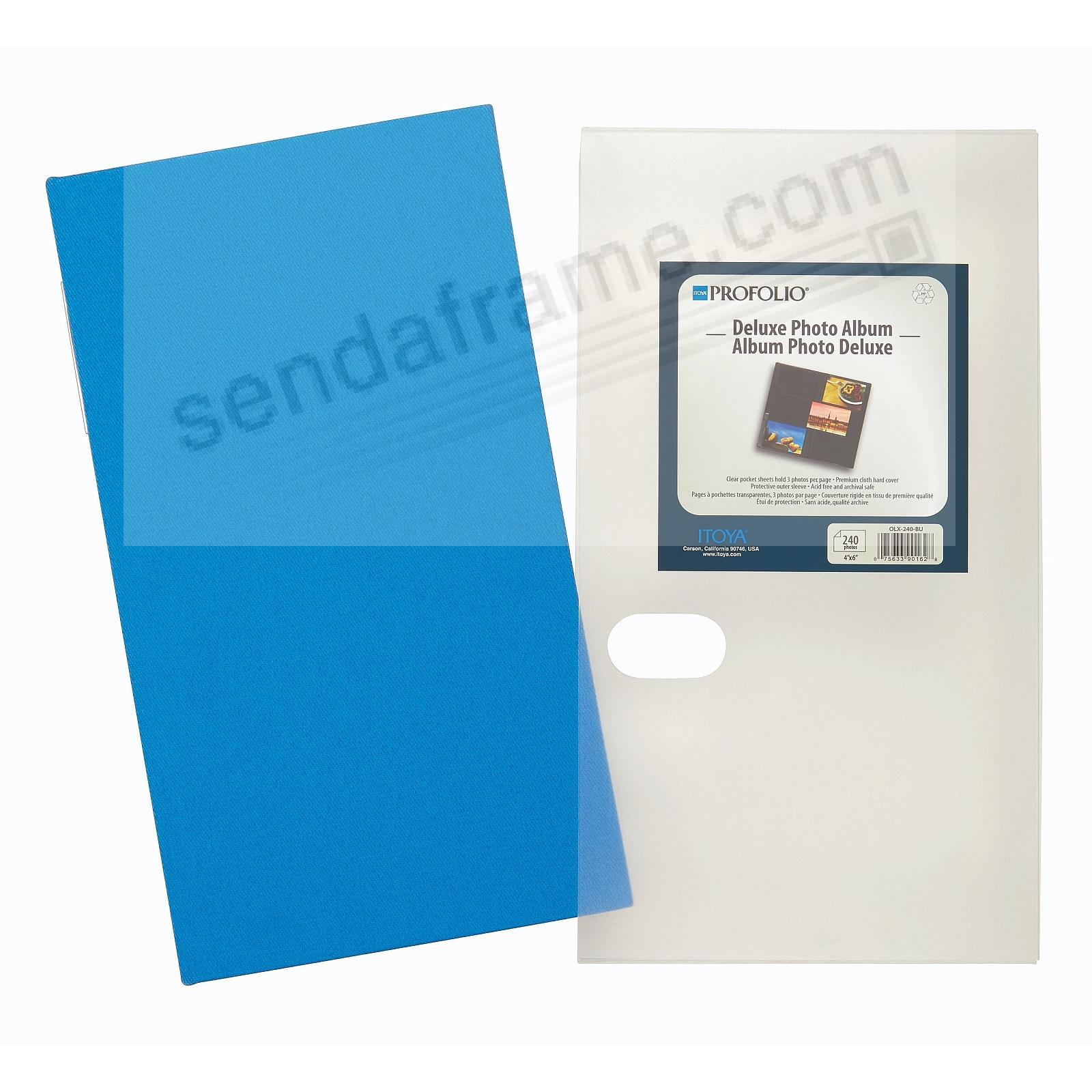 NEW! BLUE FABRIC 3-Up archival album for 240 4x6 prints by Itoya®