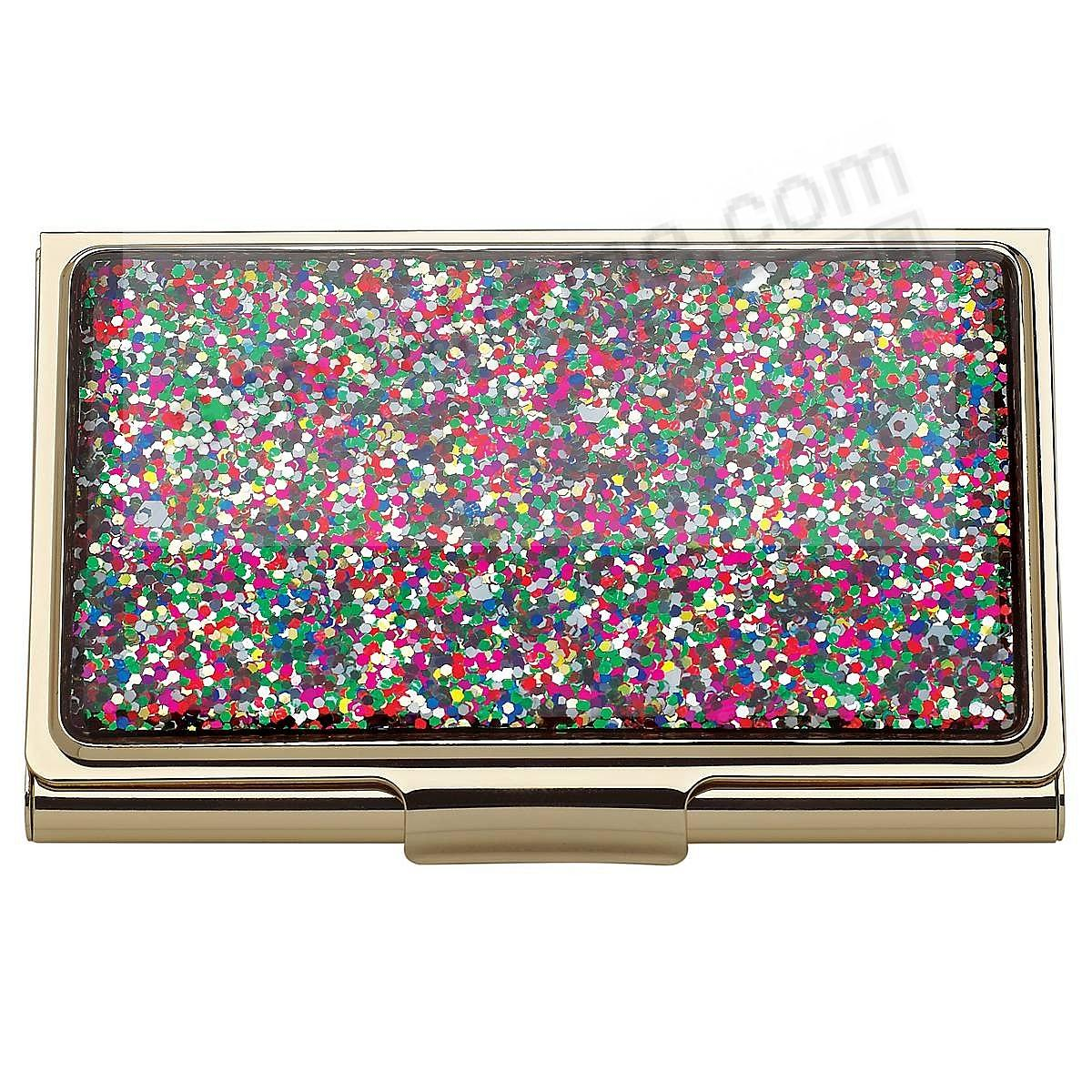 SIMPLY SPARKING MULTI/GOLD GLITTER Business Card / ID Case by kate spade new york®
