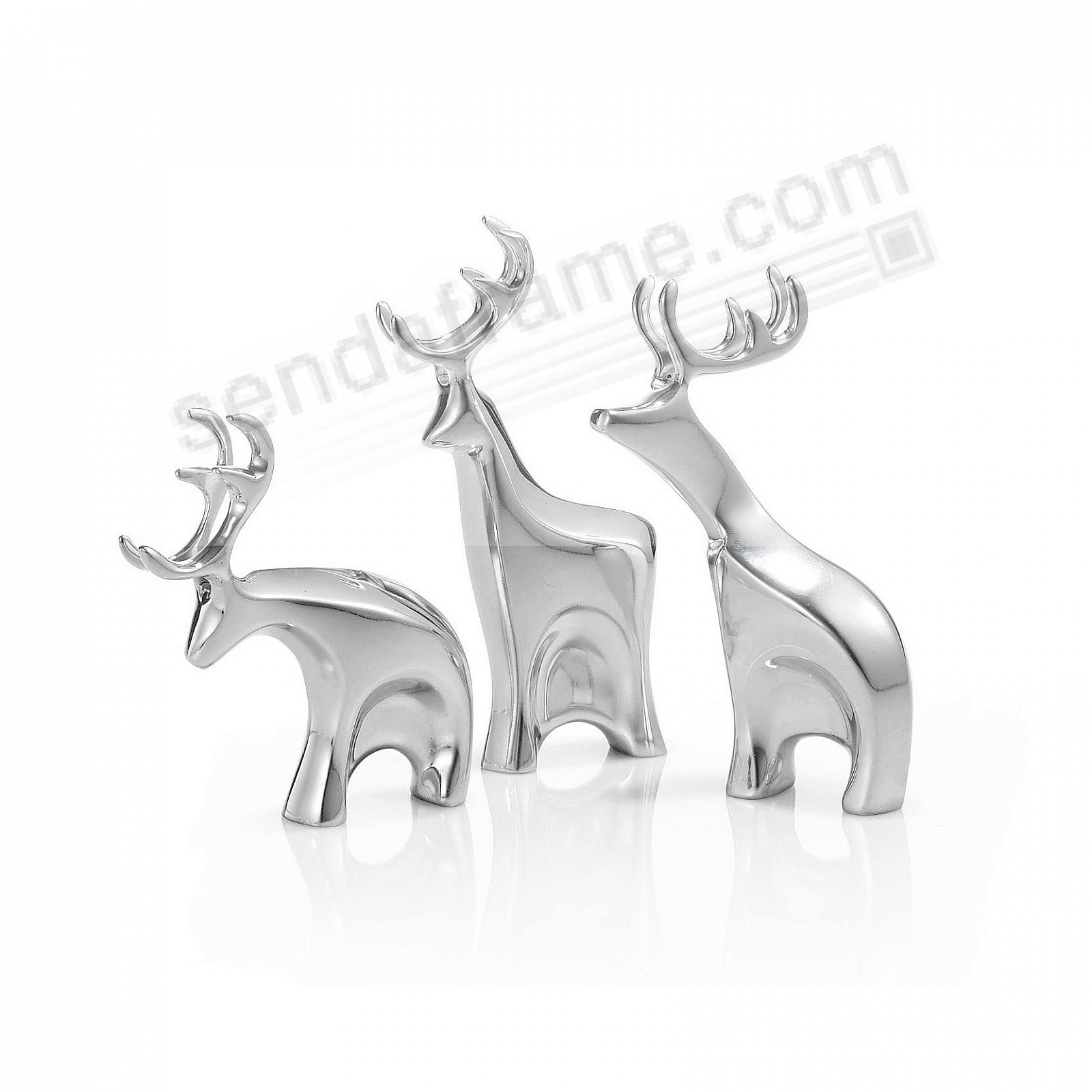 Miniature DASHER Reindeer Figurine Set crafted by Nambe®