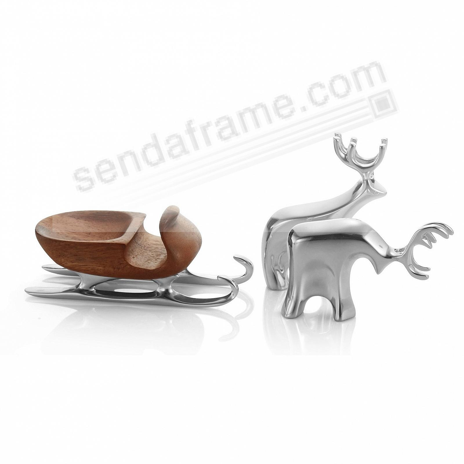 Miniature SLEIGH WITH REINDEER Figurine Set crafted by Nambe®