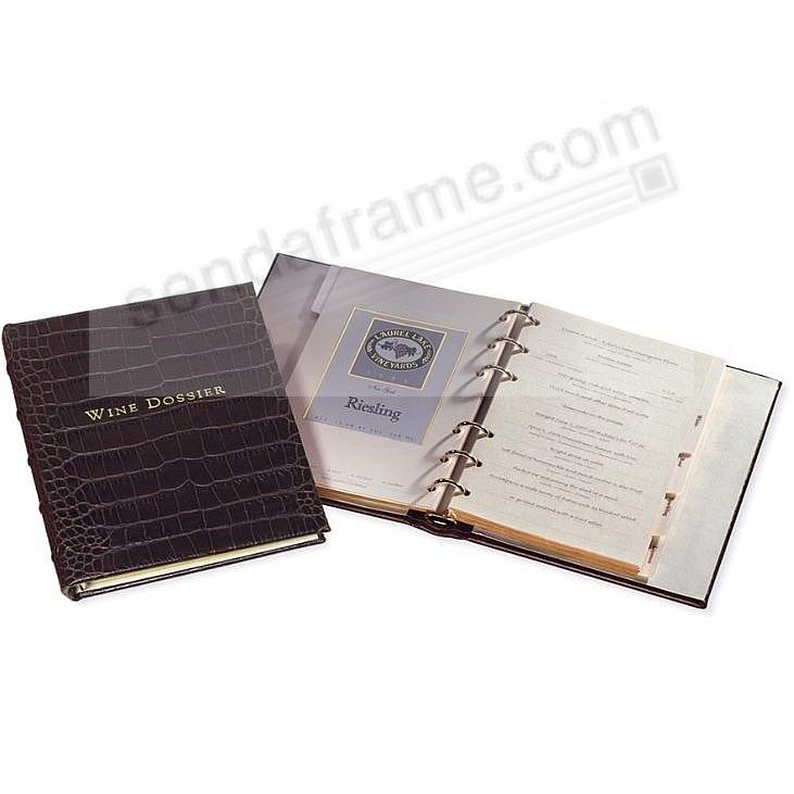 WINE DOSSIER in Croco-Brown Leather by Graphic Image™