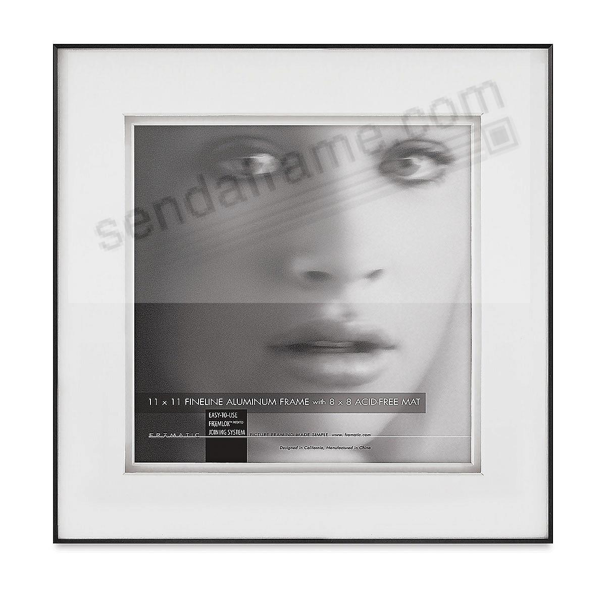 FINELINE Black Aluminum 11x11/8x8 SHADOW Matted by Framatic®