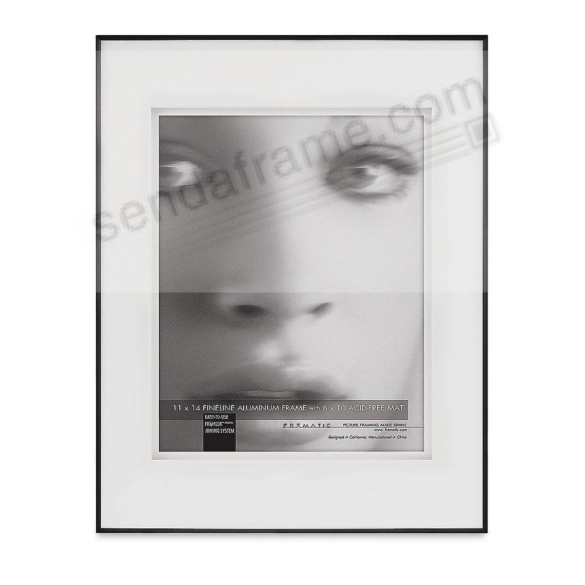FINELINE Black Aluminum 11x14/8x10 SHADOW Matted by Framatic®