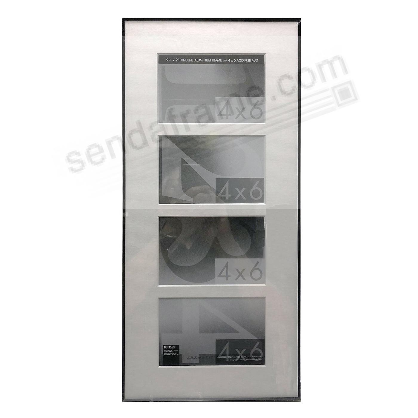 FINELINE Black Aluminum 9.5x21/4x6(4) Matted by Framatic®