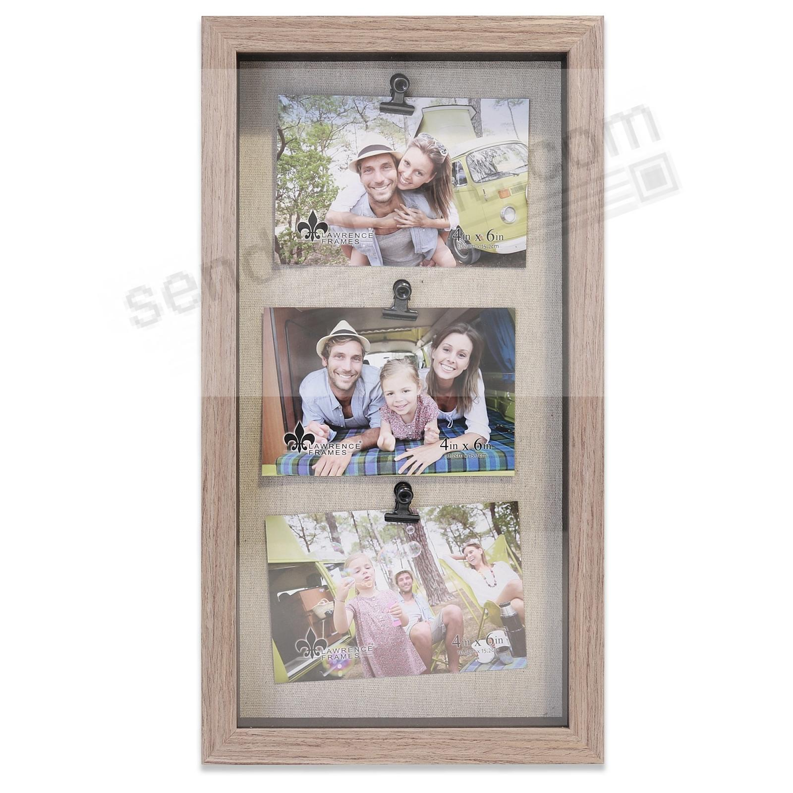 Soho Natural Shadow Box 16x8/6x4 triple clip Frame by Lawrence®
