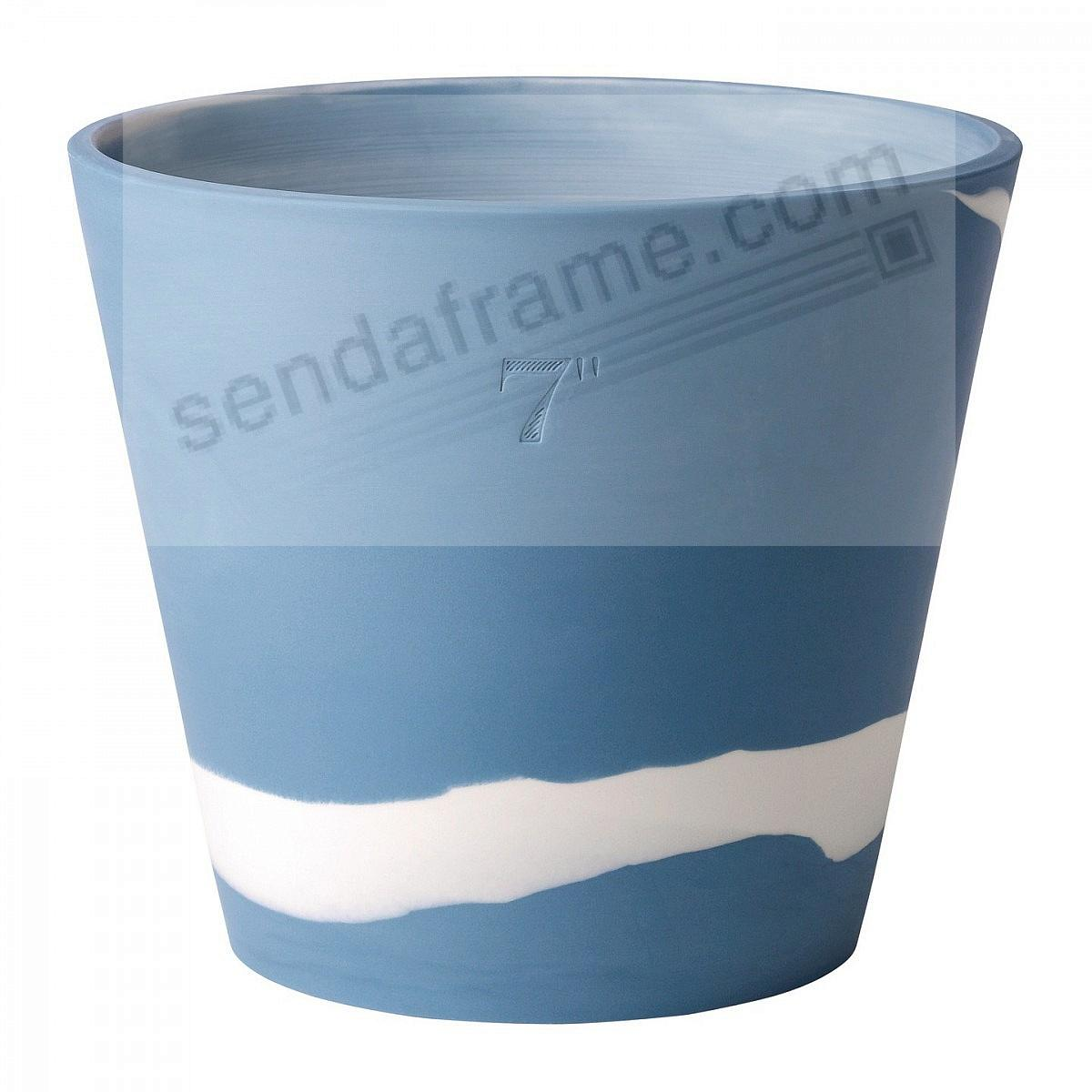 BURLINGTON PLANTER POT Blue+White 7in by Wedgwood®