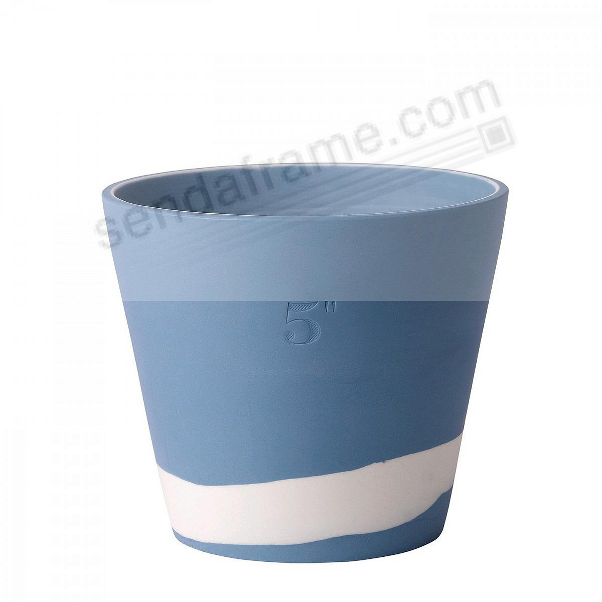 BURLINGTON PLANTER POT Blue+White 5in by Wedgwood®