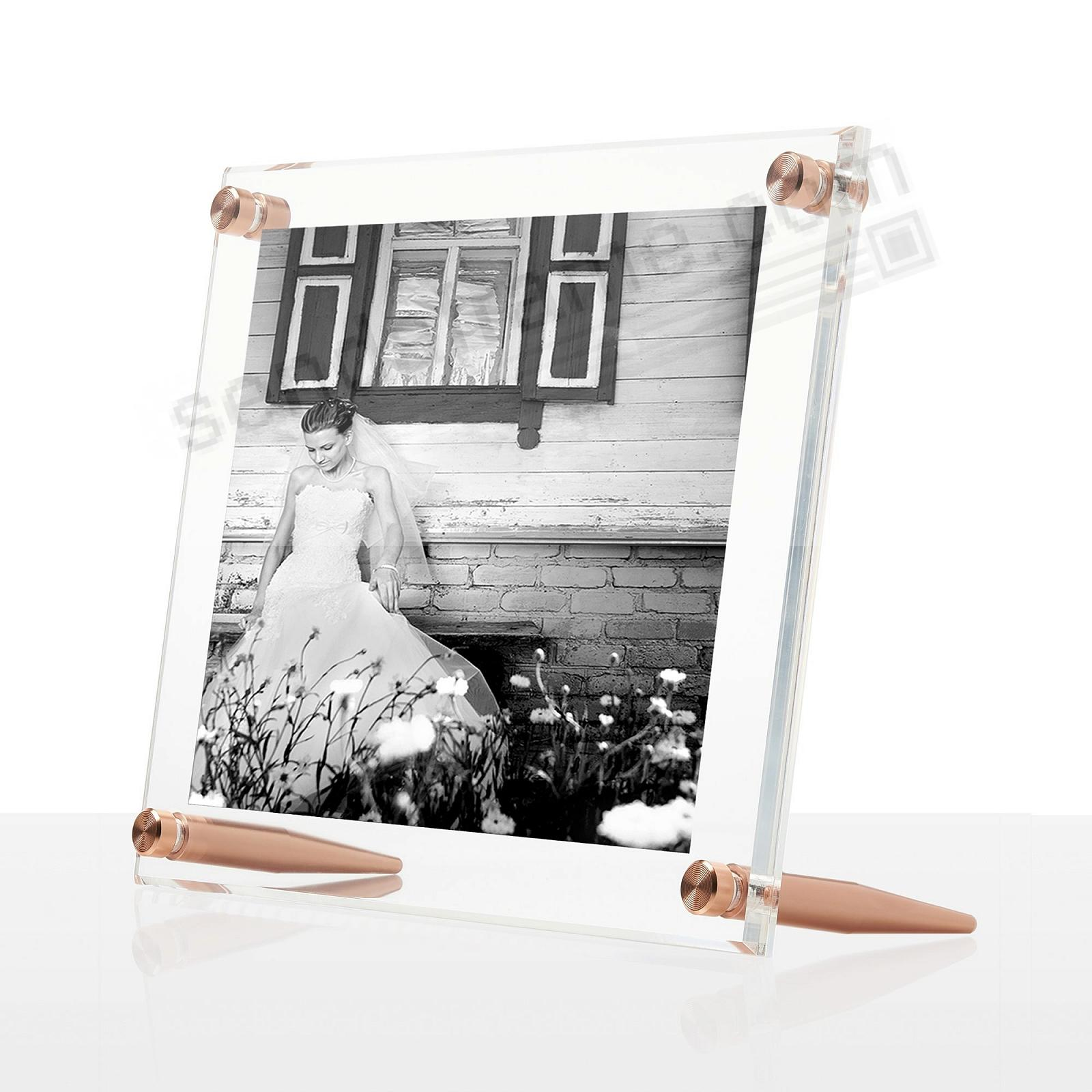 ACRYLIC BEVEL FLOAT CLEAR/Rose-Gold Frame 9x7/5x7 by Wexel Art®