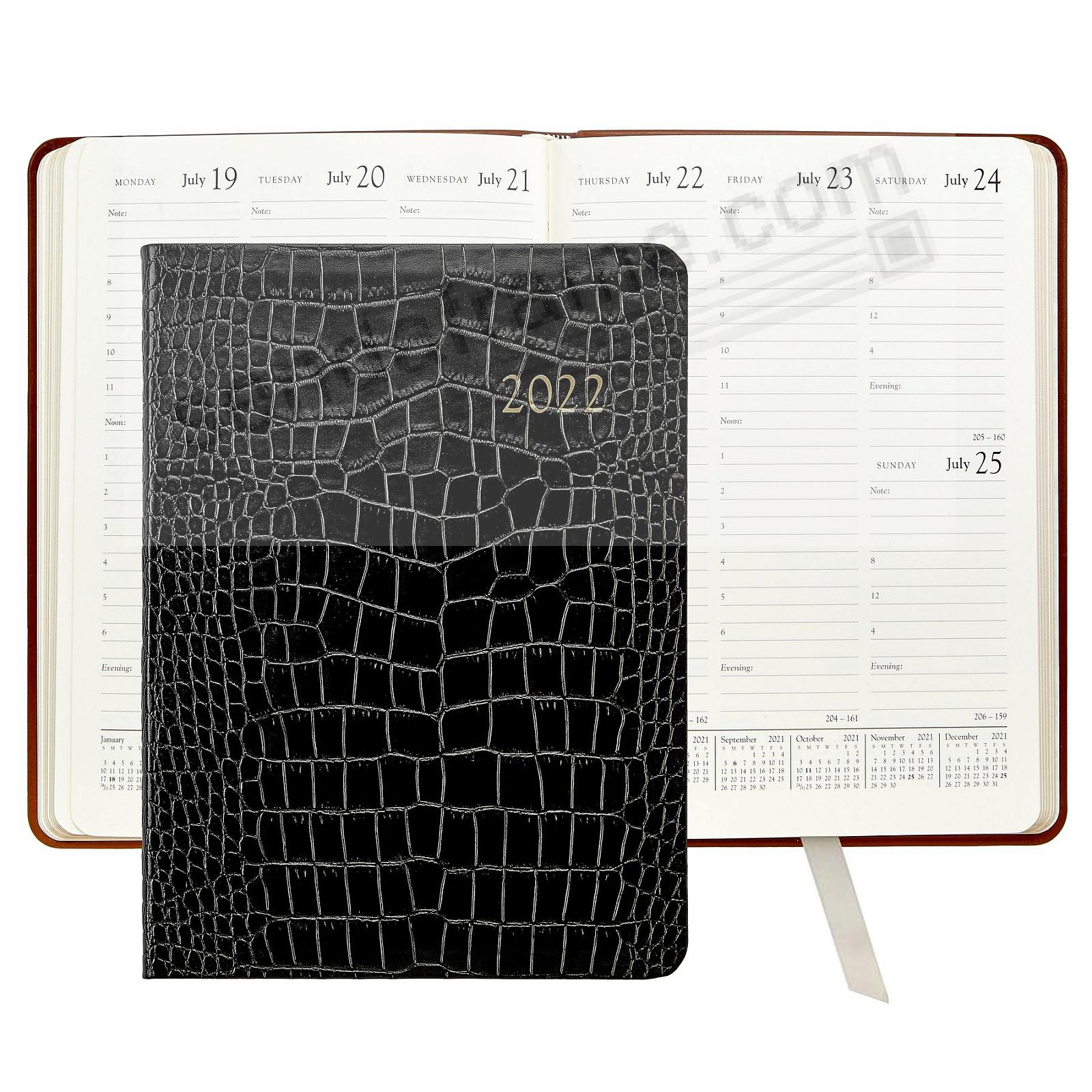 2021 Desk Diary 9inch BLACK CROCODILE EMBOSSED Leather by Graphic Image™