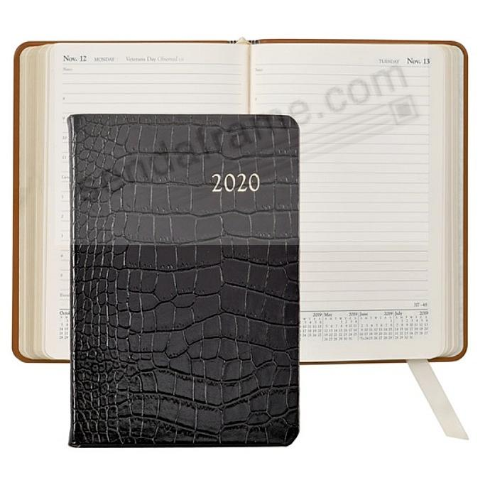 2020 BLACK CROCODILE EMBOSSED Fine Leather Daily 8-in Journal by Graphic Image™