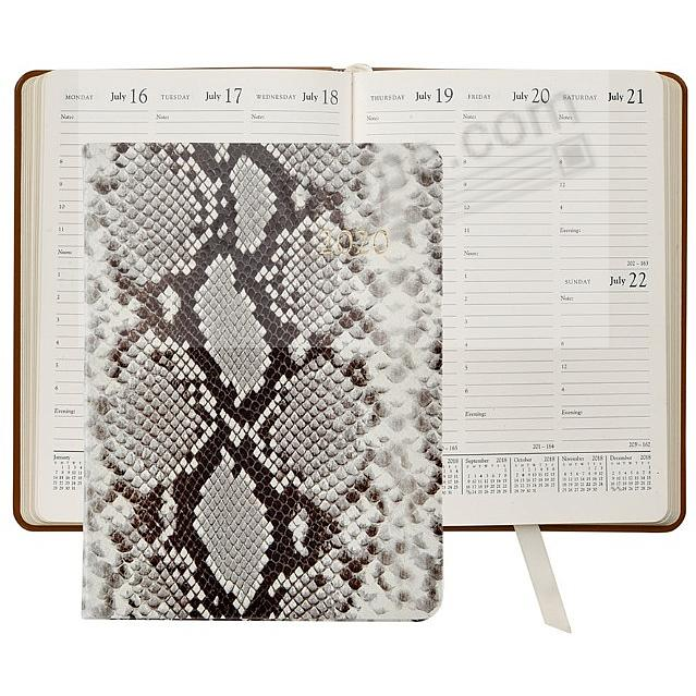 2020 NATURAL PYTHON EMBOSSED Leather 9-in Desk Diary by Graphic Image™