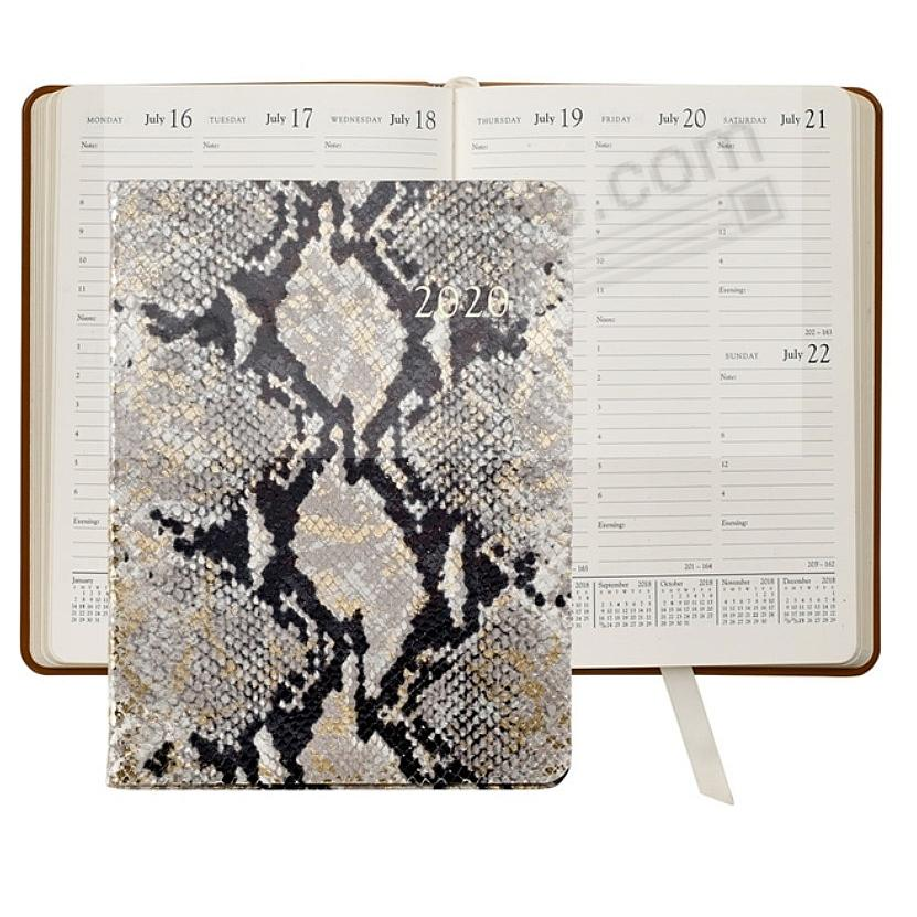 2020 NATURAL GOLD-WASH PYTHON EMBOSSED Leather 9-in Desk Diary by Graphic Image™