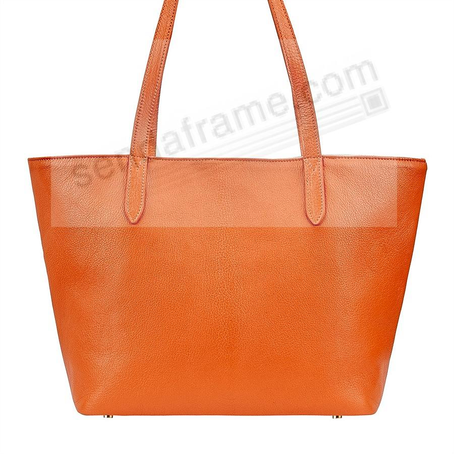 The Original CASSIE TOTE crafted in Orange Soft Leather by Graphic Image™