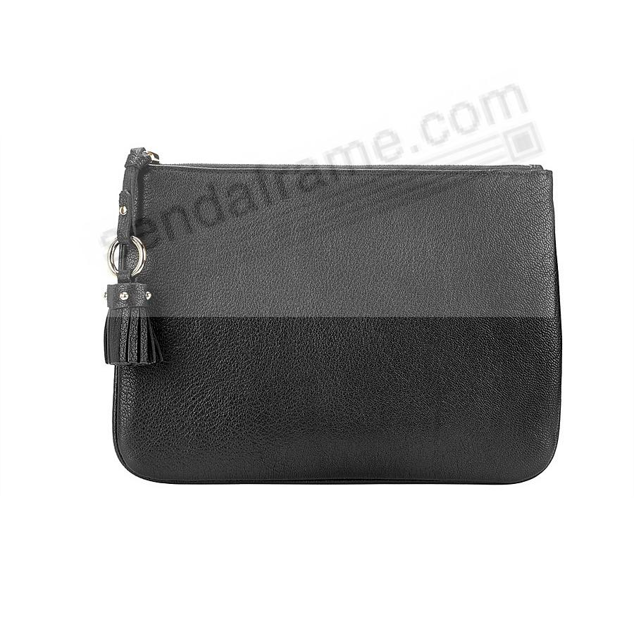 The RILEY CLUTCH BAG crafted in Black Soft Leather by Graphic Image™