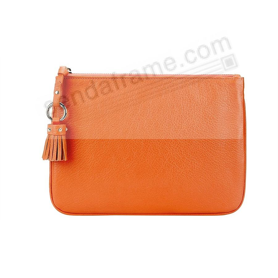 The RILEY CLUTCH BAG crafted in Orange Soft Leather by Graphic Image™