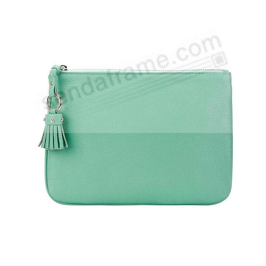 The RILEY CLUTCH BAG crafted in Robins-Egg-Blue Soft Leather by Graphic Image™
