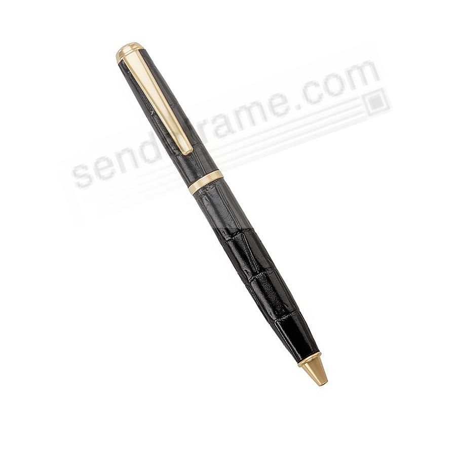 Full Wrap Fine Leather PEN in BLACK Embossed Croco Leather by Graphic Image™