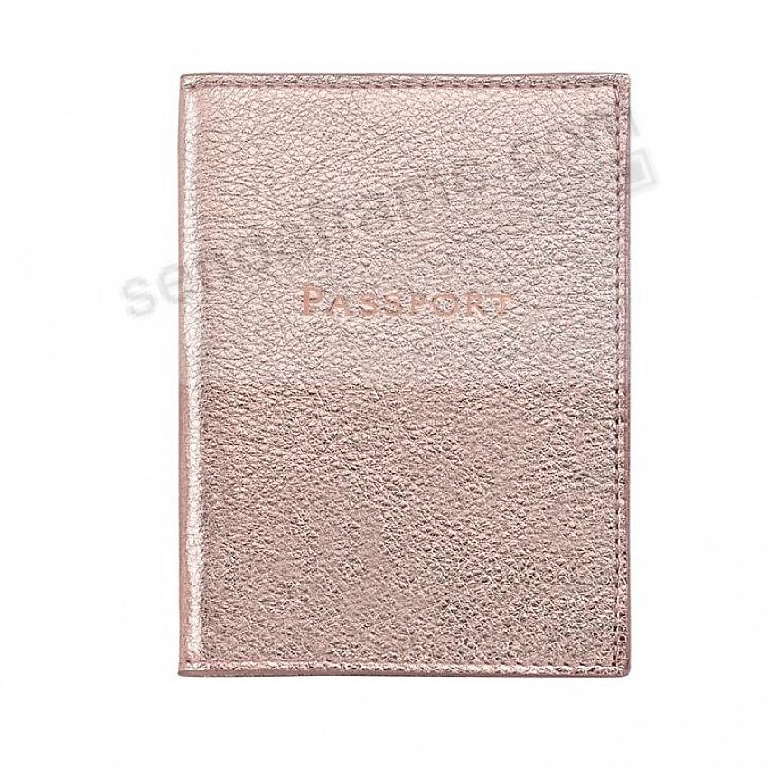 PASSPORT/ID HOLDER in Metallic Rose-Gold Leather by Graphic Image®