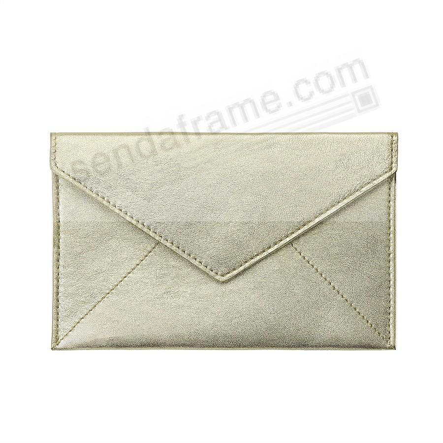 WHITE-GOLD METALLIC luxe Leather Photo Envelope (Medium) by Graphic Image™