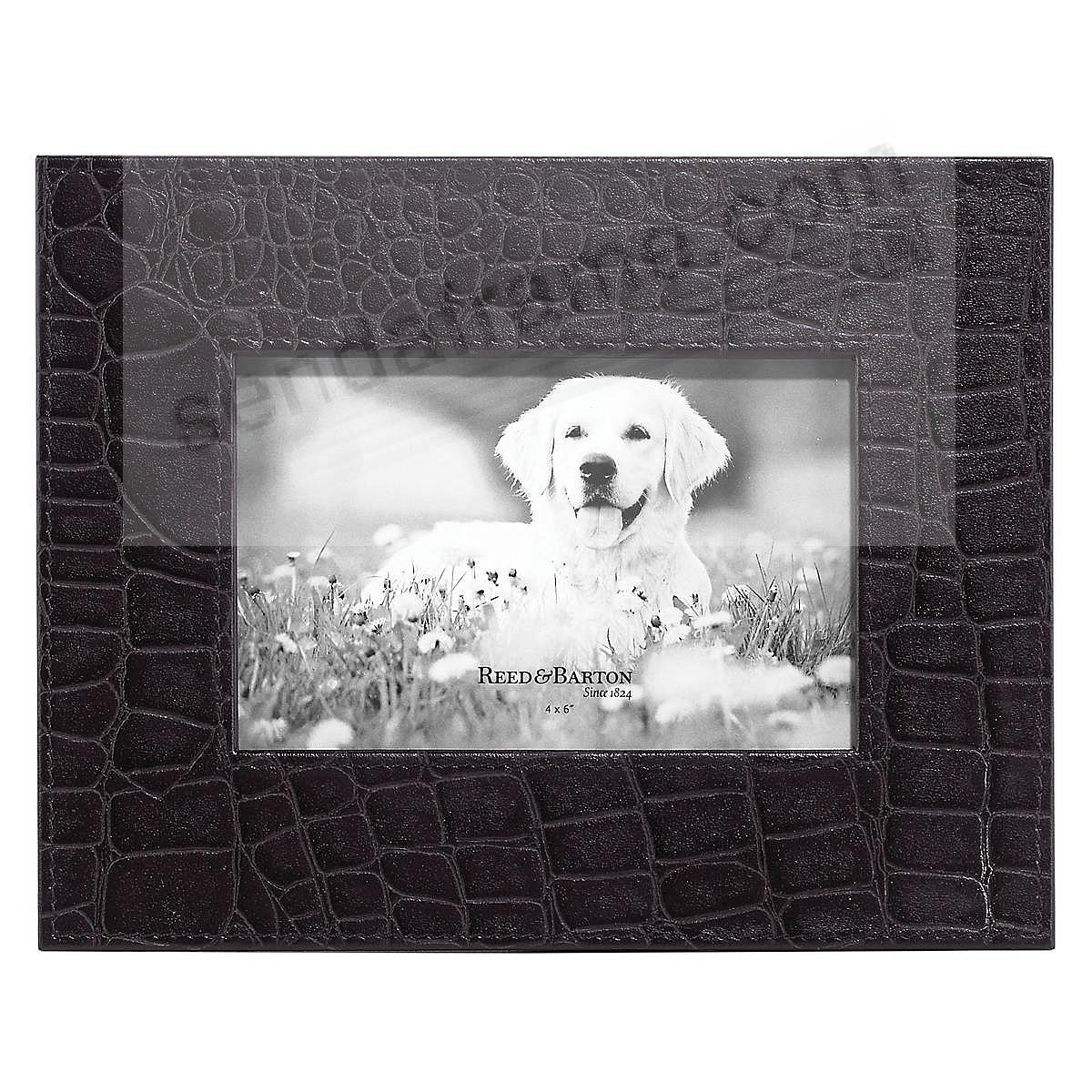 BLACK Croco-Leather GRIFFIN 4x6 Frame by Reed & Barton®