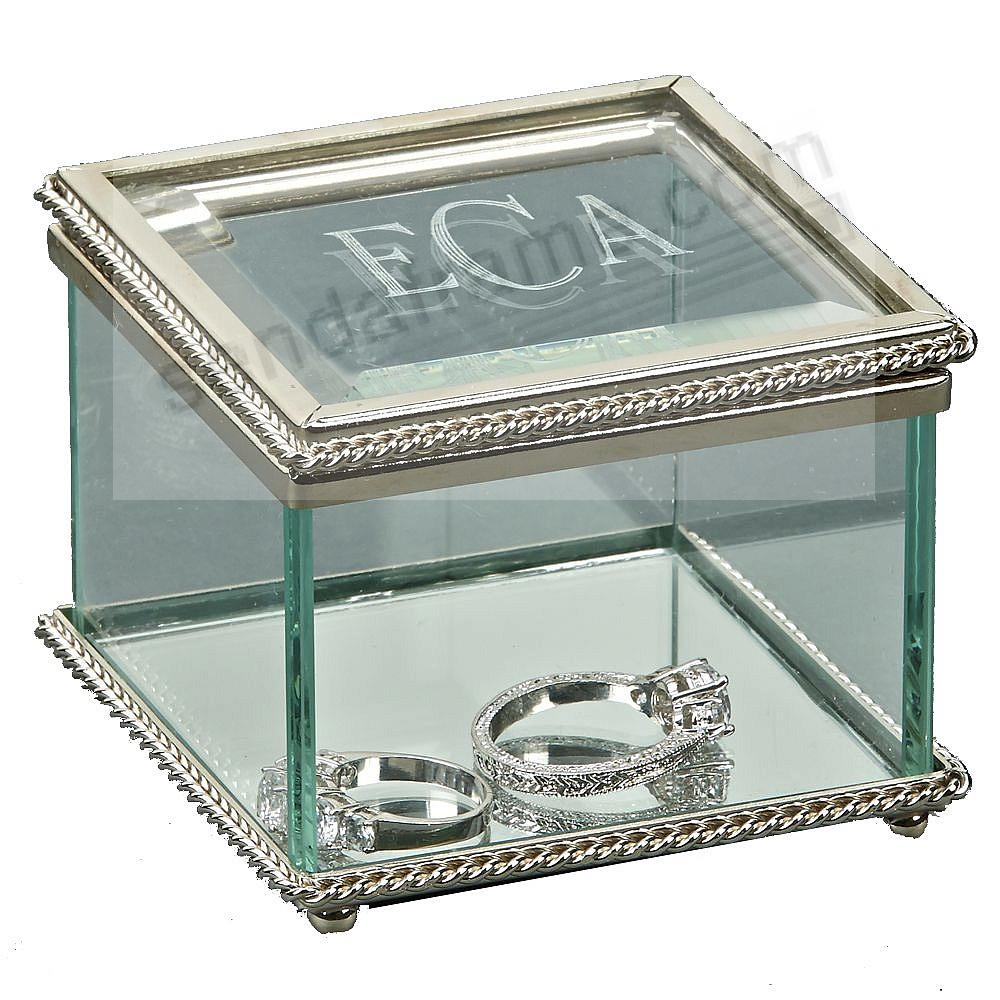 Our Square 3¼in Hinge cover glass box