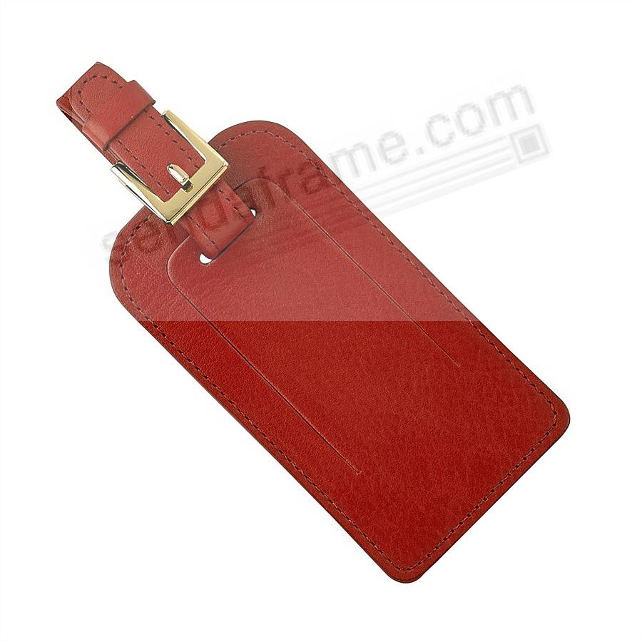 LUGGAGE TAG in RED TRADITIONAL Leather by Graphic Image®