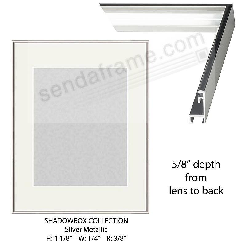 Custom-Cut™ SHADOW Box 5/8-in Depth - 8x10 Silver Metal H:1-1/8 W:1/4 R:3/8
