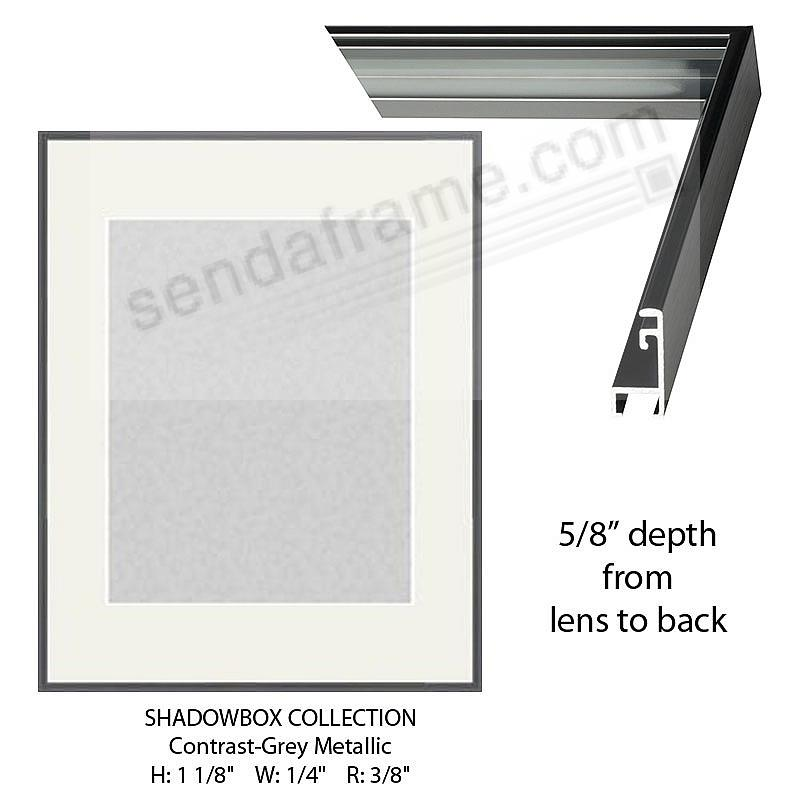 Custom-Cut™ SHADOW Box 5/8-in Depth - 8x10 Grey Metal H:1-1/8 W:1/4 R:3/8