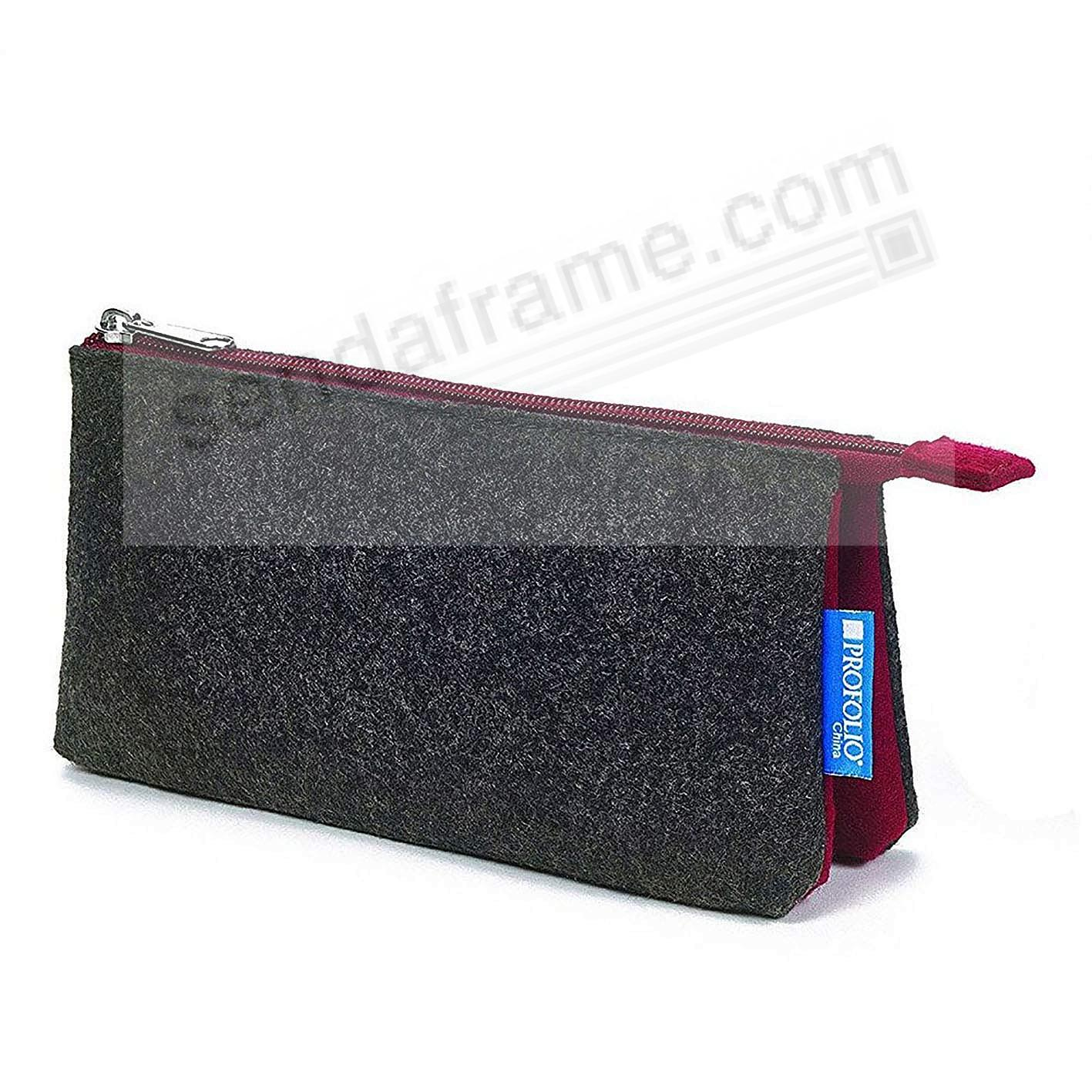 The NEW MIDTOWN POUCH by Itoya - 4x7 CHARCOAL/Maroon