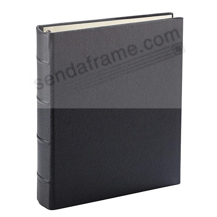 Pebble-Grain Black Nappa Leather 2-up Clear Pocket 4-ring Album<br>by Graphic Image™