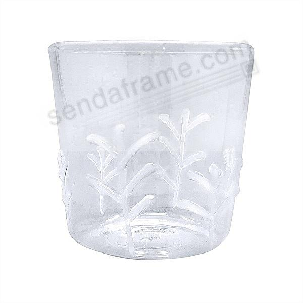WHITE APPLIQUE BRANCHES DOUBLE-OLDFASHIONED GLASS by Mariposa® (sold in 4's)
