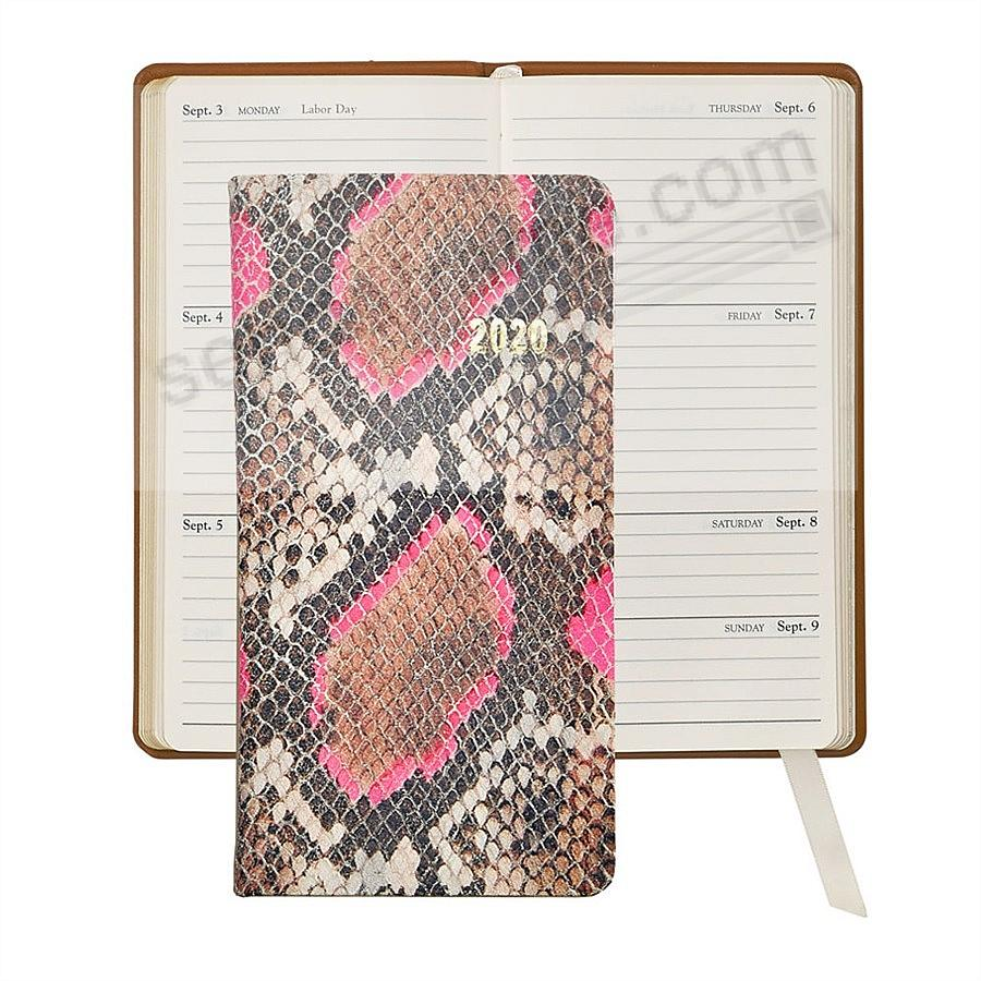 2020 NEON PINK PYTHON 6-in Pocket Datebook Fine EMBOSSED Leather by Graphic Image™