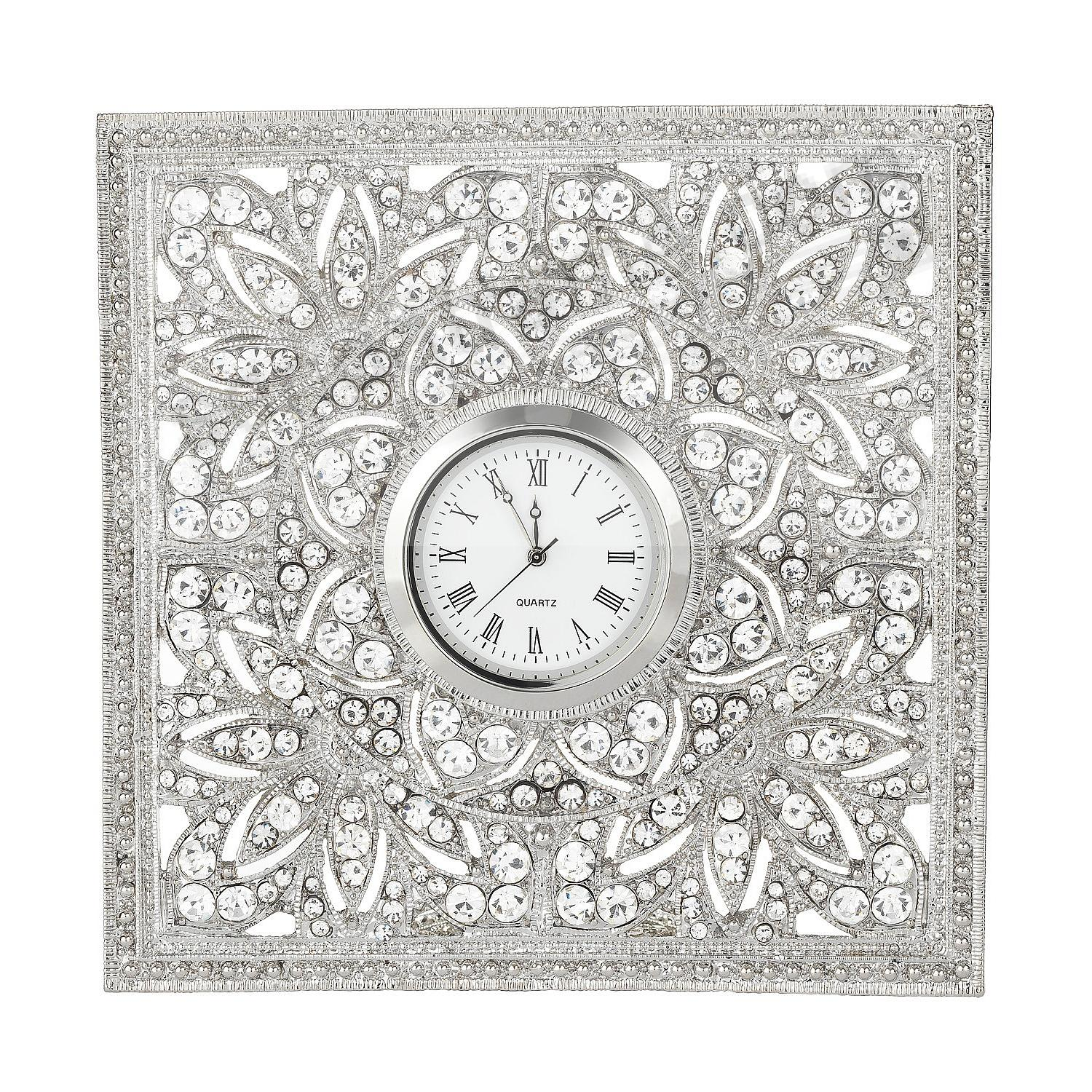 WINDSOR Silver/Crystal DESK CLOCK by Olivia Riegel®