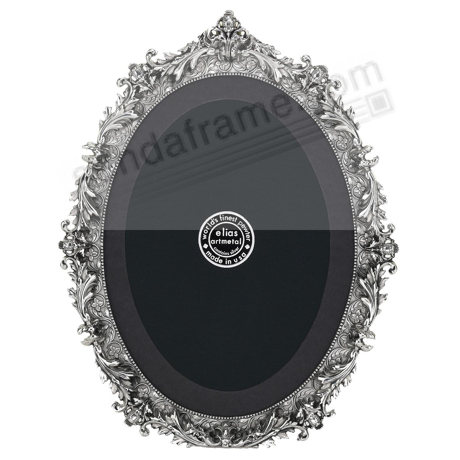 FRENCH BAROQUE OVAL Fine Silvered Pewter 5x7 frame by Elias Artmetal®