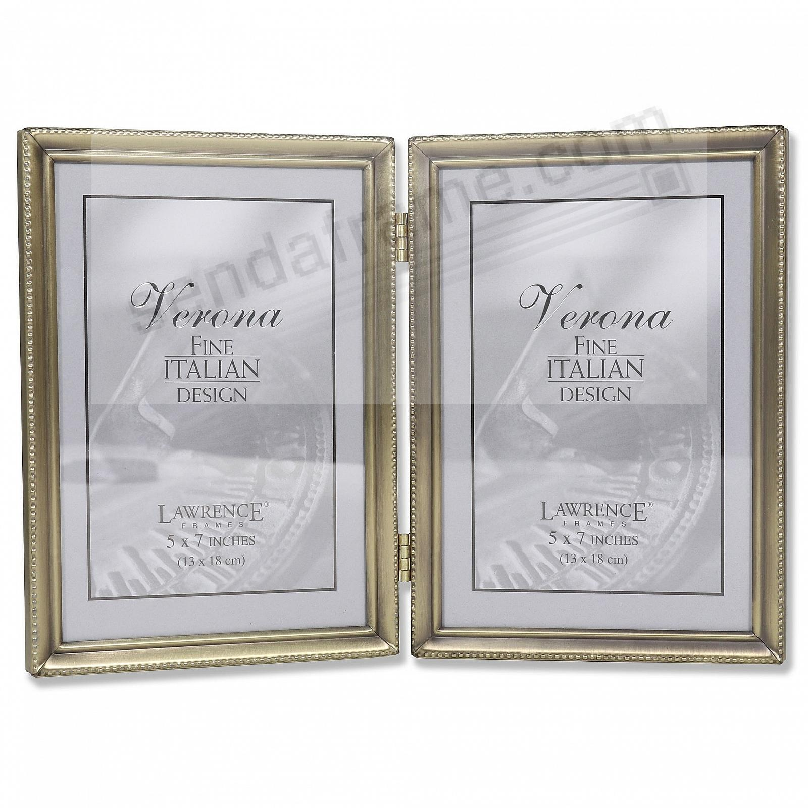 Classic antiqued gold tone hinged 5x7 double picture for Engraved digital photo frame