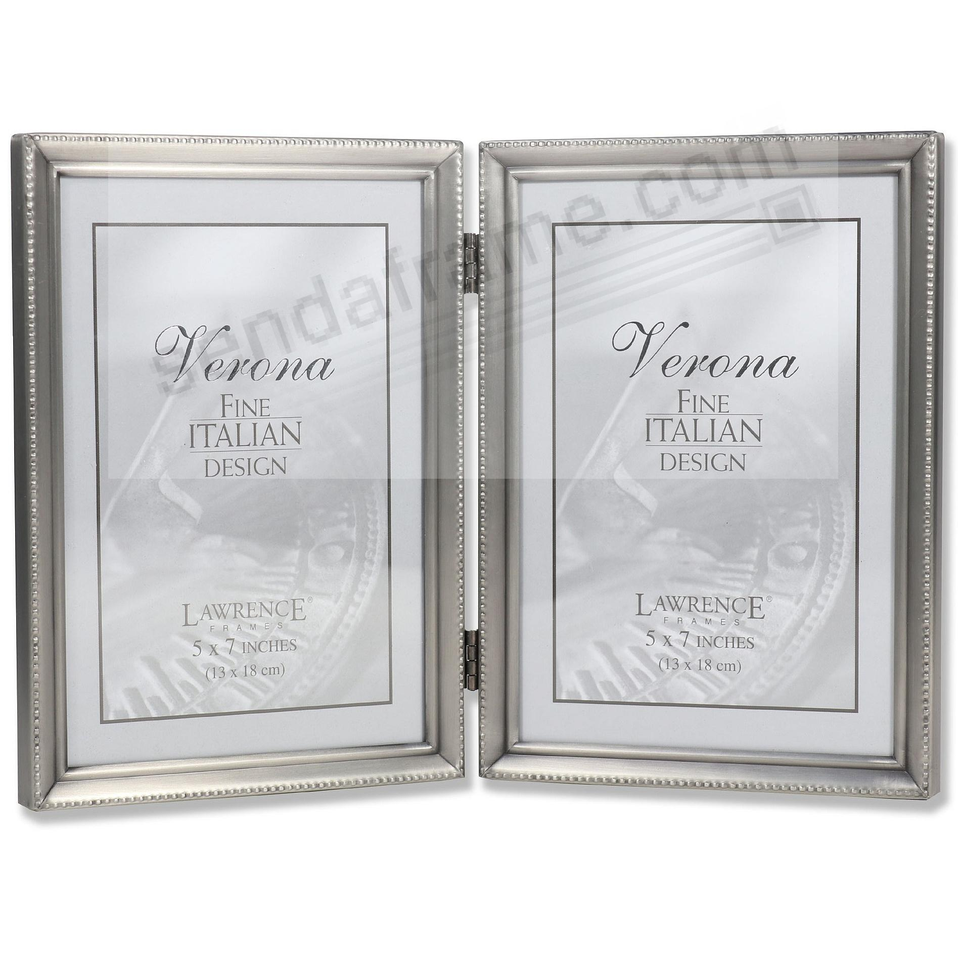 Satin antiqued pewter hinged double 5x7 frame w/caviar bead trim