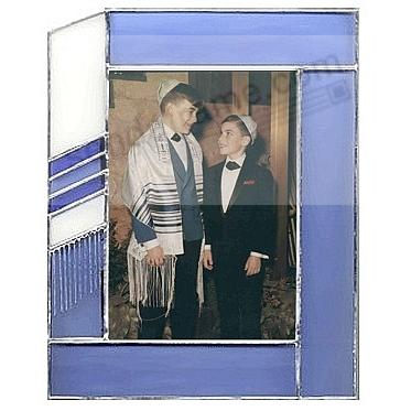 Bar Mitzvah Tallis theme 5x7 frame in classic stained glass