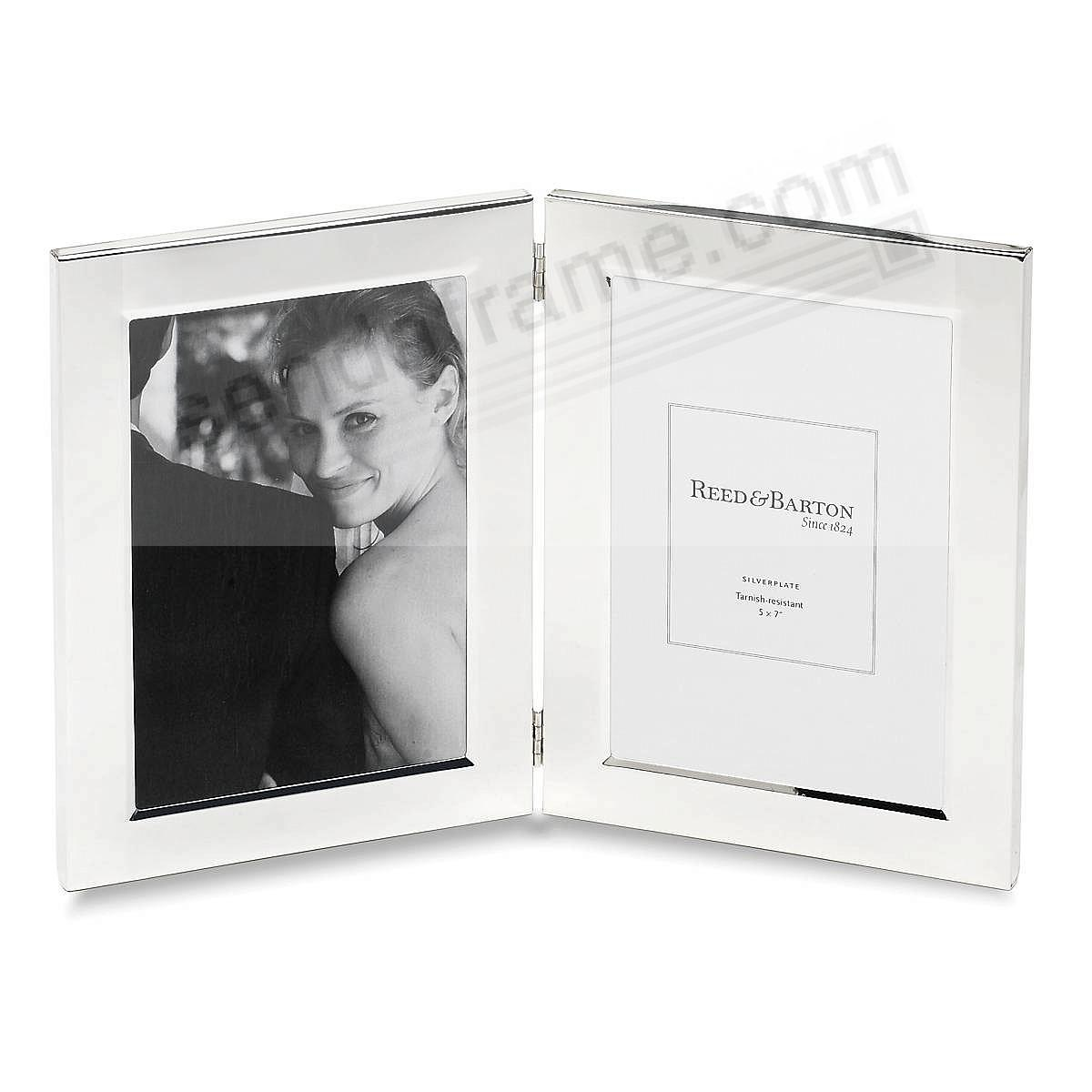 the original classic channel border silver hinged double 5x7 frame by reed barton