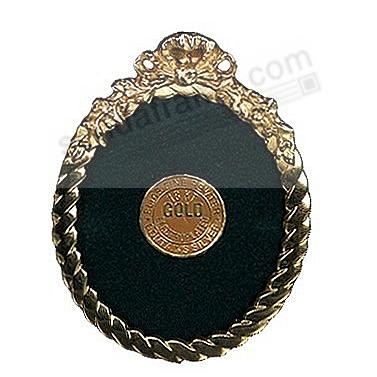 OVAL MINI BRAID 18kt Museum Gold over Pewter frame<br>by Elias Artmetal&reg;