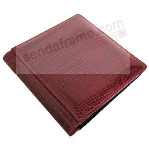 NILE RED crocodile print leather #101 album with fold-out pages by Raika®