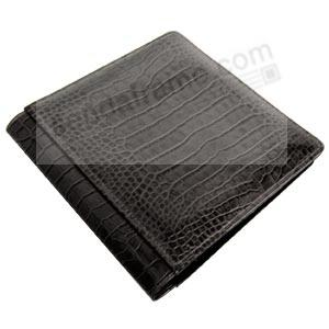NILE BLACK crocodile print leather #101 album with fold-out pages by Raika®