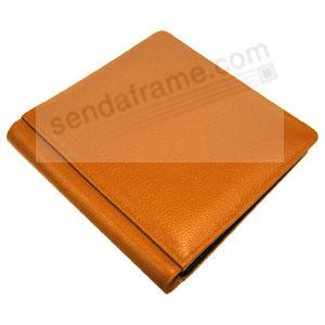 Tangerine pebble-grain leather #101 album with fold-out pages by Raika®