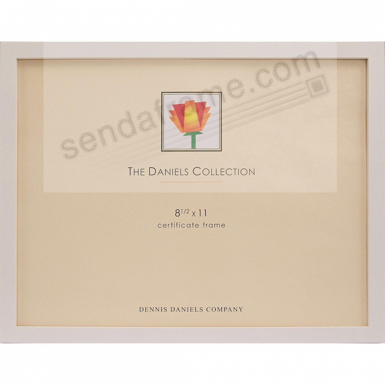 The Original DANIELS W41: Square Corner GALLERY WOODS Bright-White finish certificate size frame