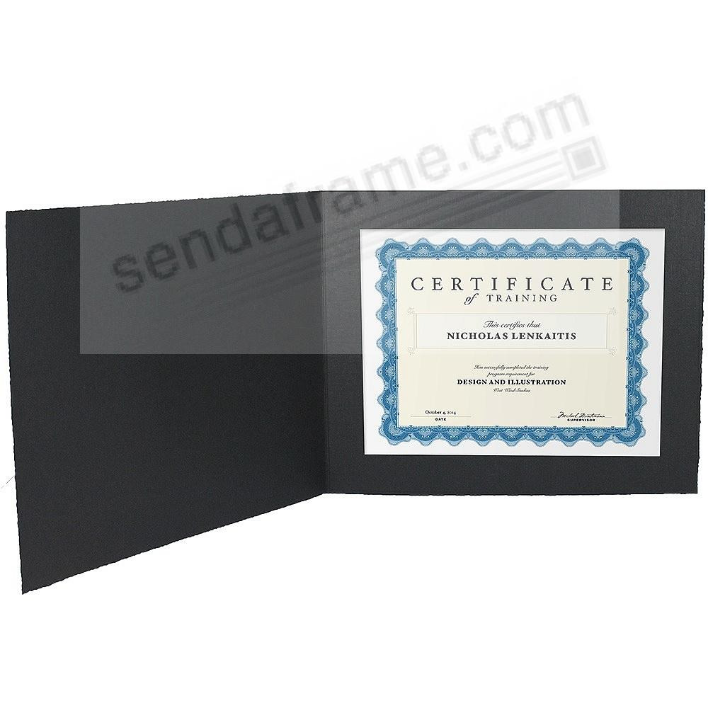 Black Cardstock Paper Certificate Folder frame w/plain border (sold in 25s)