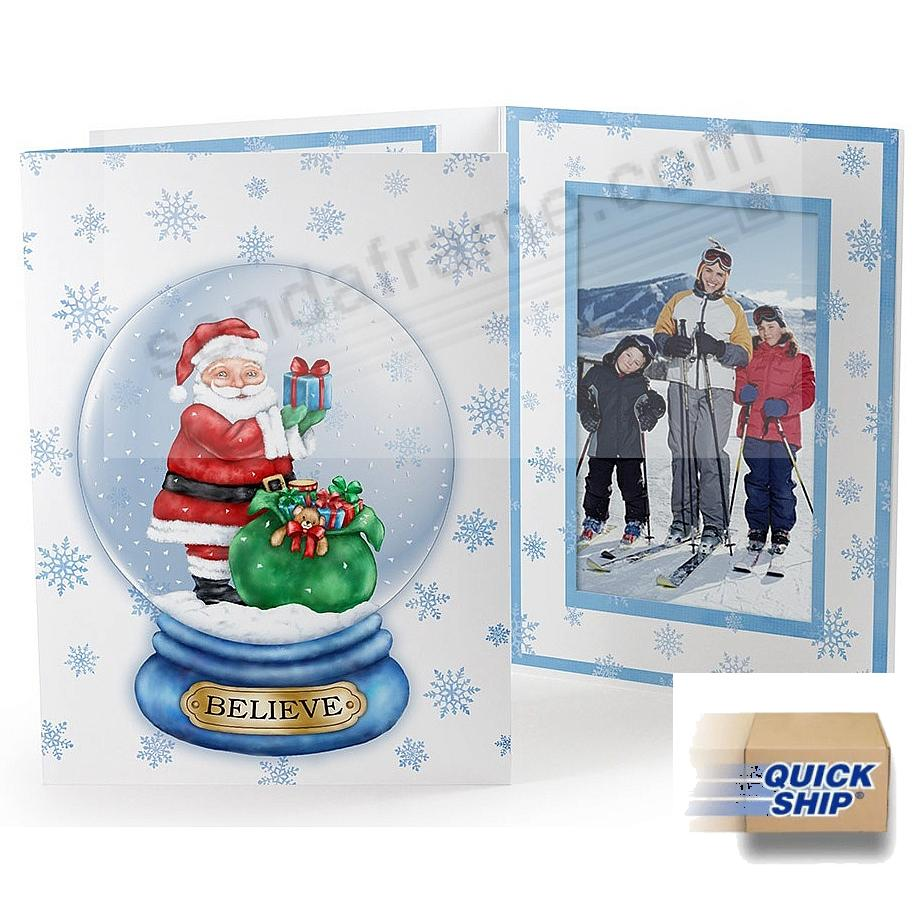 SANTA GLOBE Printed<br>Holiday Event Photo<br>Folder (sold in 25's)
