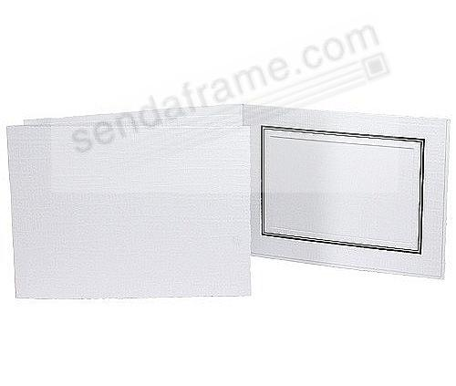 White cardboard portrait<br>folder frame for parties & special events (sold in 25s) w/black border