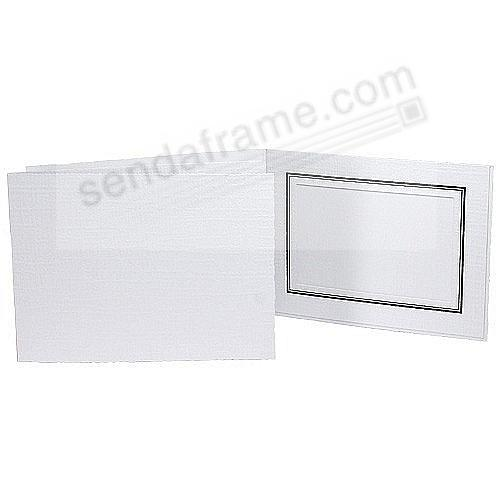 White cardboard event photo folder with black foil border (sold in 25s)