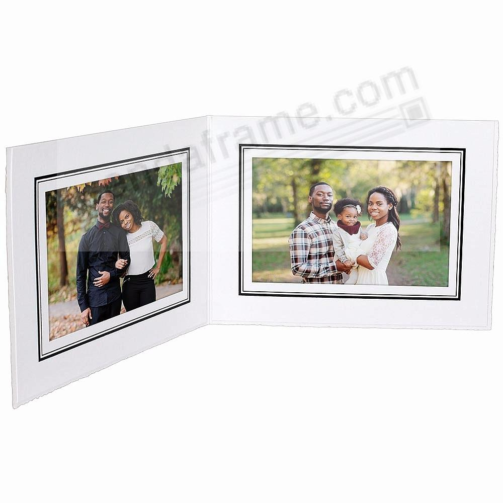 White cardboard double 6x4 folder frame w/black foil border (sold in 25's)